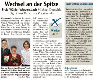 Zeitungsartikel 14.1.14 Nominierungsversammlung